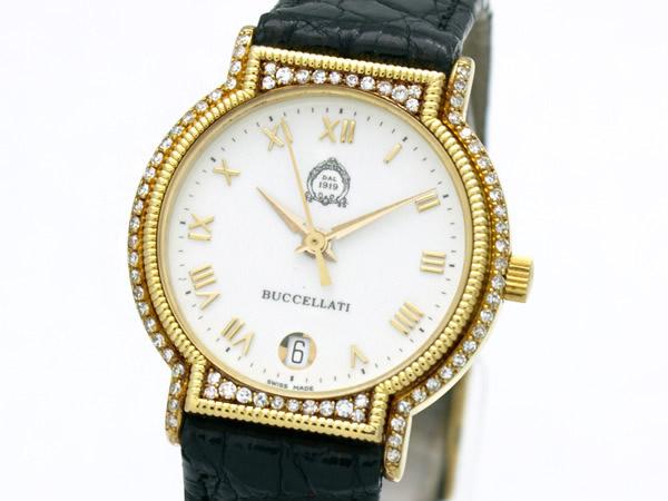 ブチェラッティ K18YG ダイヤ ベゼル クロコダイル バンド レディース 腕時計
