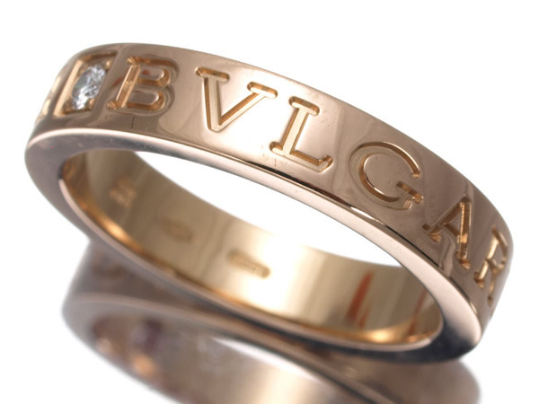 ブルガリ リング ダイヤ ダブルロゴ K18PG ピンクゴールド