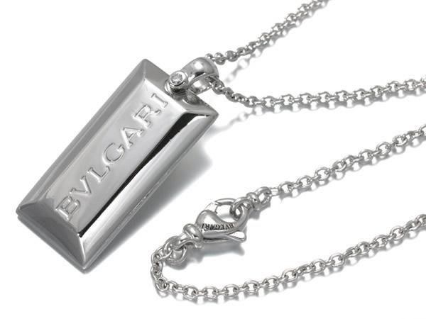 ブルガリ ネックレス ダイヤ インゴット K18WG