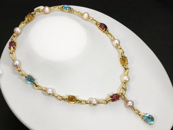 ブルガリ ダイヤモンド マルチ宝石 パール ネックレス K18YG