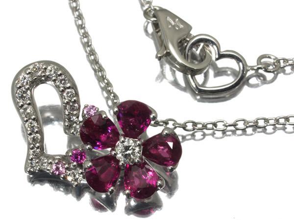 ポンテヴェキオ ルビー 0.80ct ダイヤモンド 0.14ct サファイア ハート ネックレス K18WG