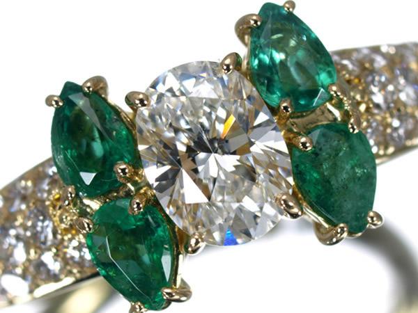 モニッケンダム 0.63ct F SI1 ダイヤモンド エメラルド K18YG リング