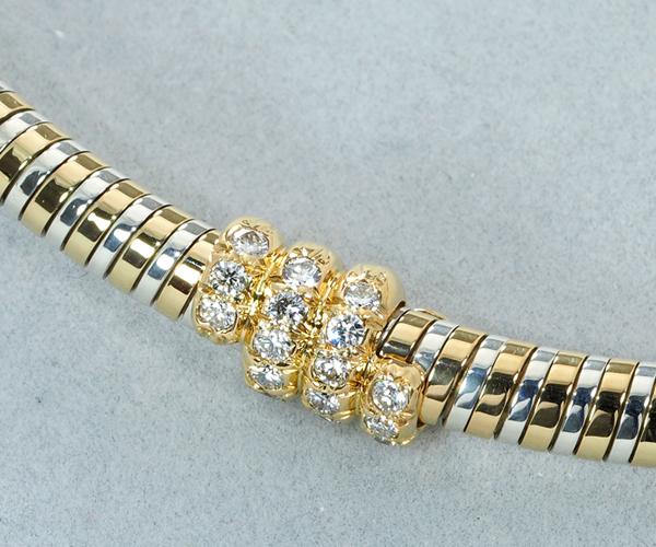 ヴァンクリーフ&アーペル ネックレス ダイヤモンド オメガ コンビカラー K18YG/SV925