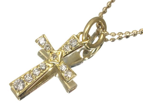 アガット ダイヤモンド 0.154ct クロス ネックレス K18YG/K10YG