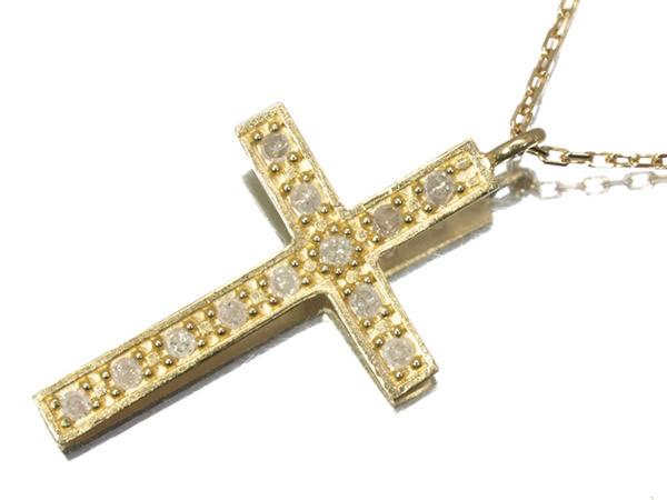 アガット ダイヤモンド クロス ネックレス K18YG