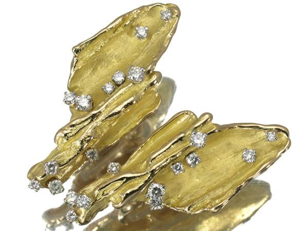 岩倉康二さん ダイヤモンド 0.54ct K18YG 高級デザインイヤリング
