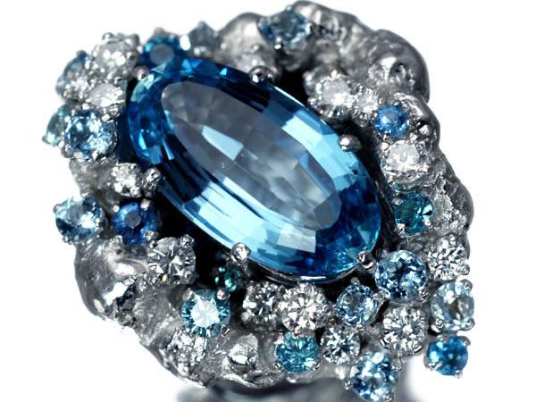 岩倉康二さん アクアマリン7.3ct ダイヤモンド1.3ct リング K18