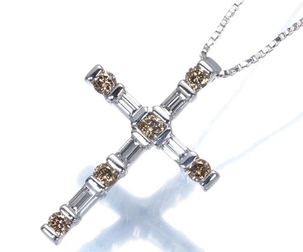 ダミアーニ ネックレス ブラウン&クリアダイヤモンド ルミエール クロス K18WG