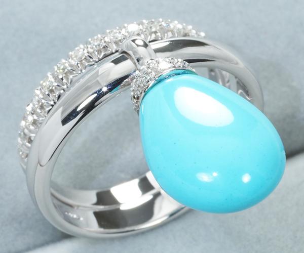 シャンテクレール リング ターコイズ ダイヤモンド 12号 K18WG