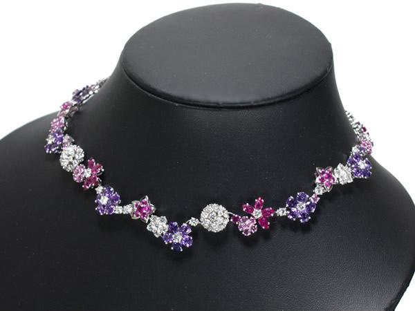 ヴァンクリーフ&アーペル ネックレス ダイヤ サファイア フォリデプレ K18