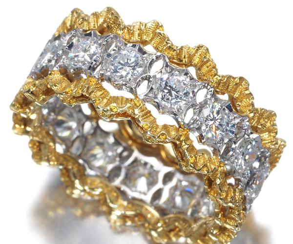 ブチェラッティ リング ダイヤモンド フルエタニティ 9号 K18YG/WG