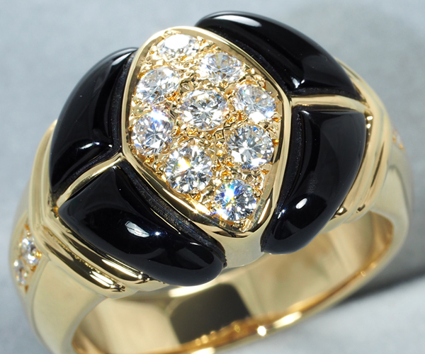 石川暢子 リング ダイヤモンド 0.48ct オニキス K18YG 12号
