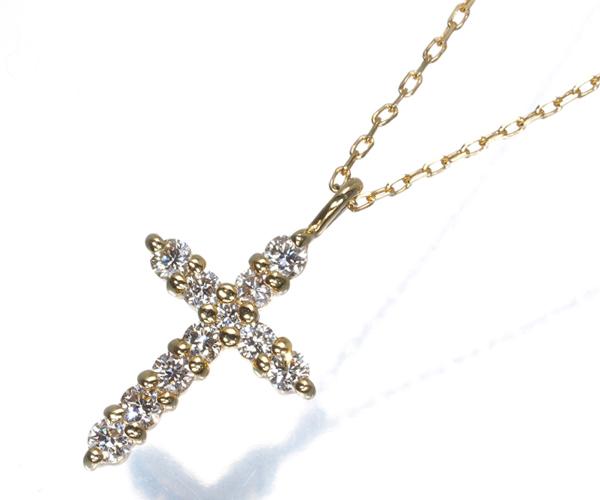オデュース4℃ ネックレス ダイヤモンド クロス K18YG