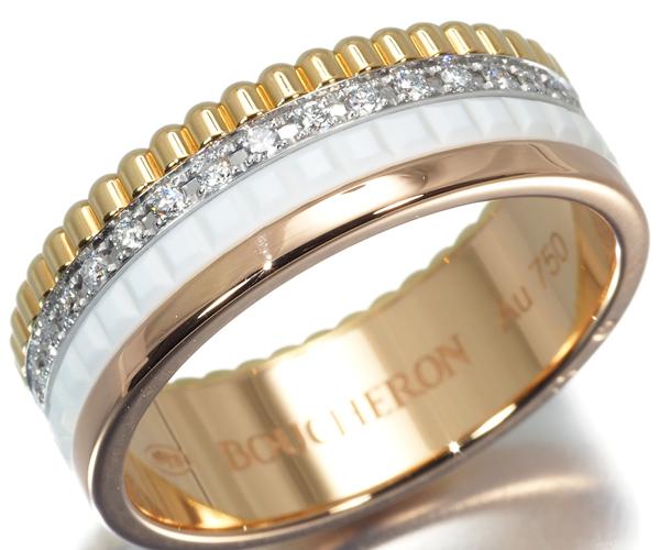 ブシュロン リング ダイヤモンド キャトルホワイト 54号 K18YG/WG/PG/セラミック