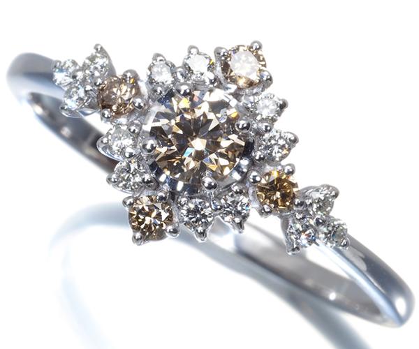 QVC リング ブラウン&クリアダイヤモンド 0.20ct/0.17ct 15号 K18WG
