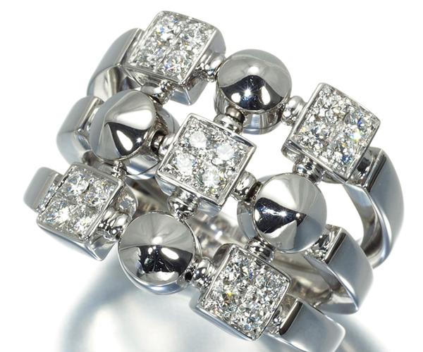 ブルガリ リング ダイヤモンド ルチア 3ロウ 13.5号 K18WG