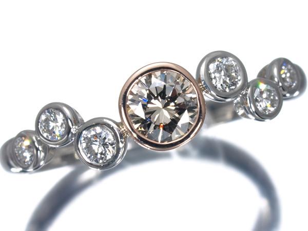カシケイ ベゼル ダイヤモンド 0.45ct K18・Pt900 リング