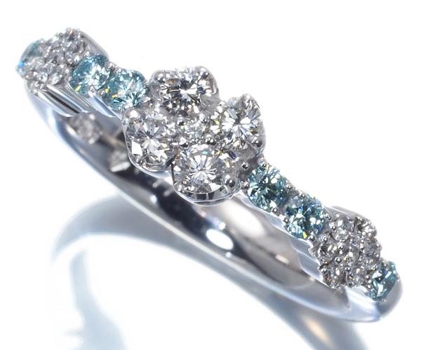 ポンテヴェキオ リング ブルー&クリアダイヤモンド 0.17ct/0.29ct 8号 K18WG