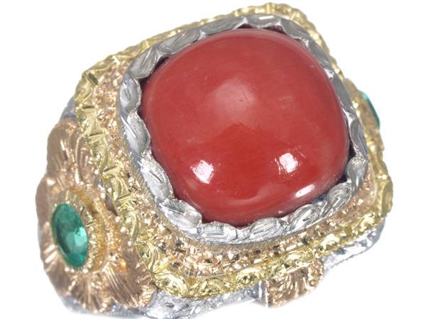 カッツァニーガ 珊瑚 ダイヤモンド K18 リング