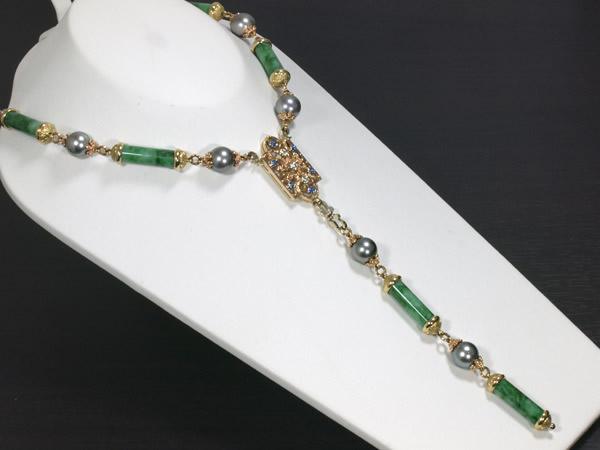 カッツァニーガ 翡翠 パール ダイヤモンド K18 ネックレス