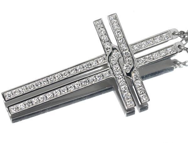 カルティエ ダイヤモンド クロス ネックレス K18WG