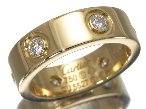 カルティエ フルダイヤモンド ラブリング K18YG 53号 K18WG