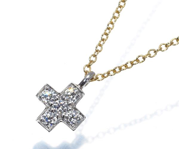 ティファニー ネックレス ダイヤモンド クルーシフォーム クロス Pt950/K18YG