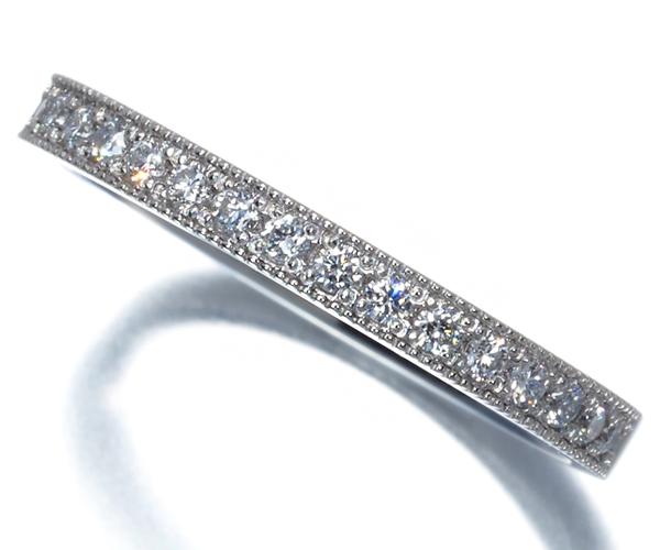 ポンテヴェキオ リング ダイヤモンド 0.18ct ミルグレイン ハーフエタニティ Pt900