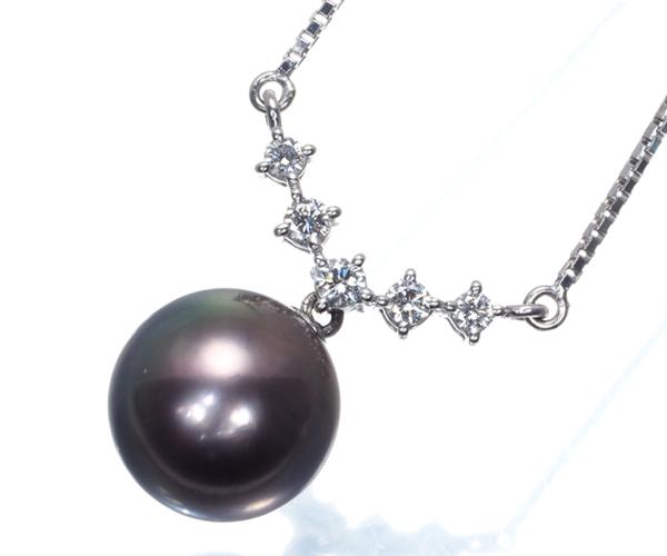 TASAKI タサキ ネックレス 黒蝶真珠 パール 11.5mm珠 ダイヤモンド 0.20ct Pt900/Pt850