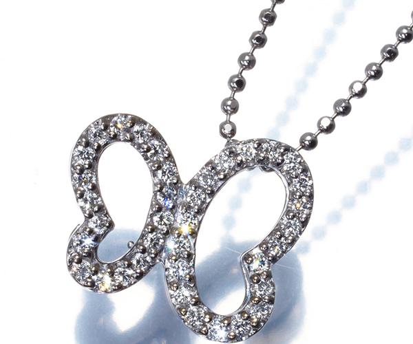 ポンテヴェキオ ネックレス ダイヤモンド 0.20ct バタフライ 蝶 K18WG