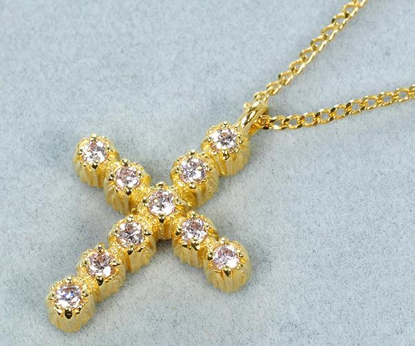 アーカー ネックレス ナチュラルピンクダイヤモンド 10th アニバーサリー クロス K18YG