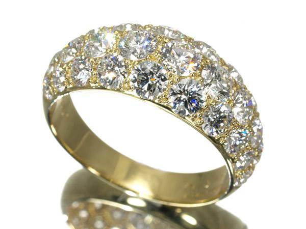 ギメル ダイヤ 3.031ct パヴェ リング K18