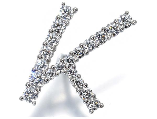 ギメル ピンブローチ ダイヤモンド 0.527ct イニシャル 「K」 Pt950