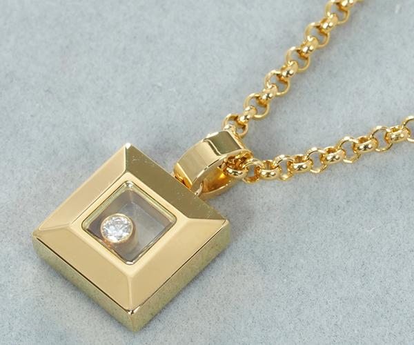ショパール ネックレス ハッピーダイヤモンド 1P スクエア K18YG