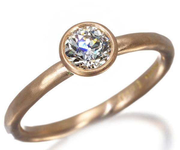 マルコムベッツ リング オールドカットダイヤモンド 0.4ct程 10.5号 K18PG