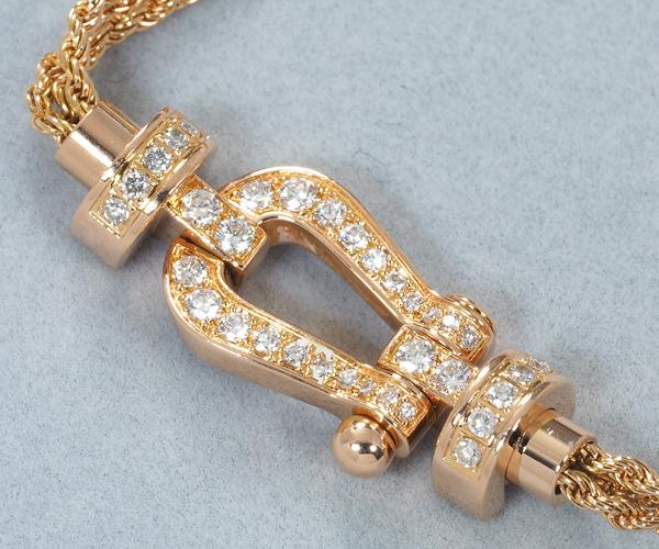 フレッド ブレスレット ダイヤモンド フォース10 MM 3連チェーン 15刻印 K18PG