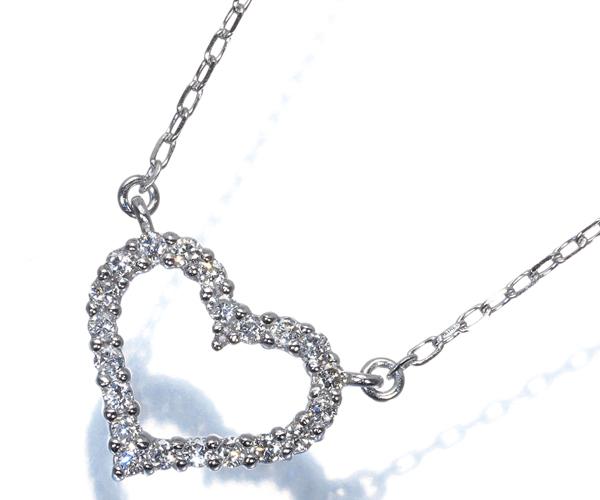 ヴァンドーム ネックレス ダイヤモンド 0.19ct ハート K18WG