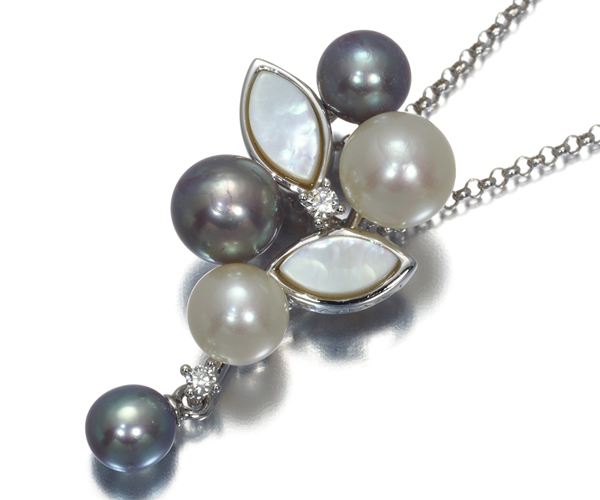 TASAKI タサキ ネックレス アコヤ真珠 パール4.3-5.6mm珠 シェル ダイヤモンド K18WG