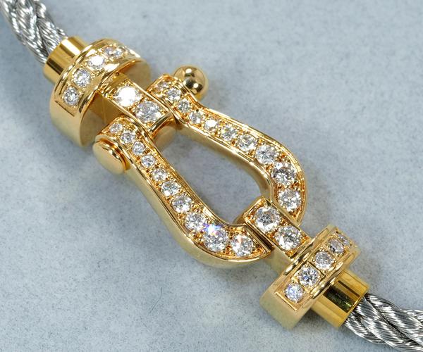 フレッド ブレスレット ダイヤモンド フォース10 MM  バックル スティールケーブル 14刻印 K18YG/SS