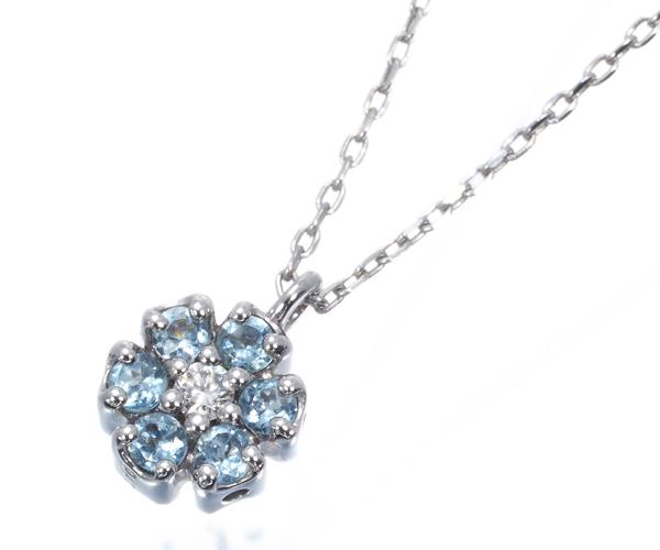 ポンテヴェキオ ネックレス ダイヤモンド 0.10ct アクアマリン フラワー リバーシブル K18WG