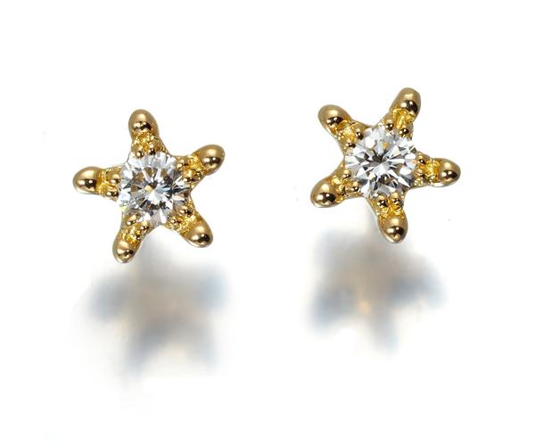 スタージュエリー ピアス ダイヤモンド 0.10ct スター 星 K18YG