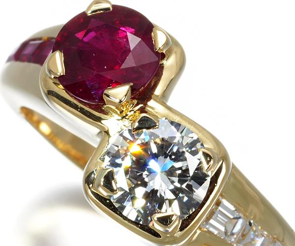 モーブッサン リング ダイヤモンド 0.6ct程 ルビー 11.5号 K18YG