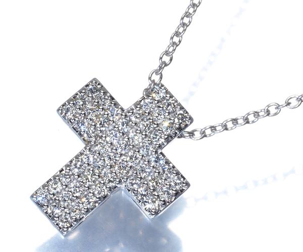 ポンテヴェキオ ネックレス ダイヤモンド 0.51ct クロス パヴェ K18WG