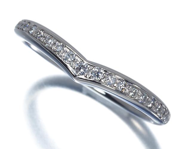 ポンテヴェキオ リング ダイヤモンド 0.12ct ハーフエタニティ V字 Pt900