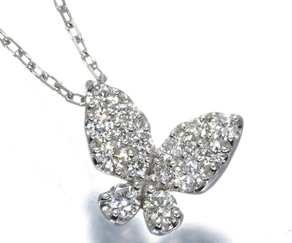 ポンテヴェキオ ネックレス ダイヤモンド 0.24ct バタフライ K18WG