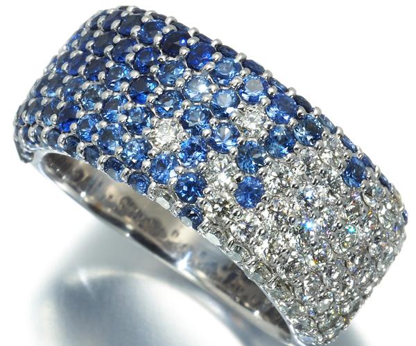 ポンテヴェキオ リング サファイア 1.91ct ダイヤモンド 0.81ct パヴェ K18WG
