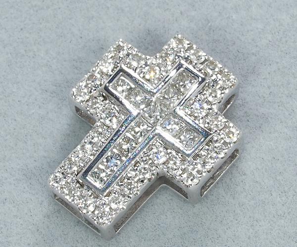 ポンテヴェキオ ペンダントトップ ダイヤモンド 0.26ct クロス K18WG