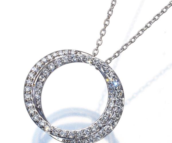 ポンテヴェキオ ネックレス ダイヤモンド 0.32ct サークル K18WG