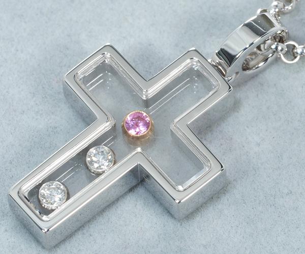 ショパール ネックレス ハッピーダイヤモンド ピンクサファイア クロス K18WG/PG