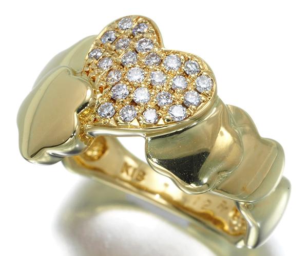 ポンテヴェキオ リング ダイヤモンド 0.12ct ハート パヴェ K18YG
